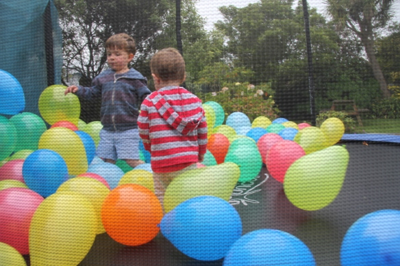 Balloons on the trampoline
