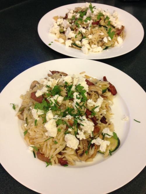 Asparagus & Chorizo salad (Chelsea Winter)